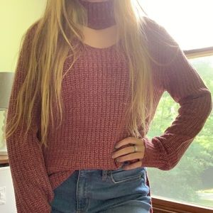 Sweaters - Pink/Mauve Cutout Collar Sweater